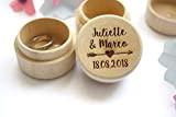 Boîte à alliances personnalisée, porte alliances pour mariage, gravée avec les prénoms et la date du mariage, en bois, mariage ...