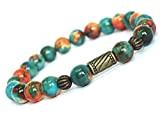 Bracelet tibétain pour femme style vintage en perles de jade blanc naturel teinté en marron, orange et bleu, perles en ...