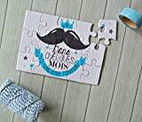 Carte annonce grossesse pour tonton : puzzle + jolie pochette en toile de jute