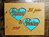 Livre d'or 2 coeurs prénom personnalisé mariage champêtre baptême communion scrapbooking album en bois format A5 ou A4