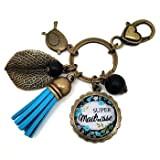 Porte clés - bijou de sac Maîtresse - Bronze et cabochon verre illustré Super Maîtresse - idée cadeau maîtresse, cadeau ...